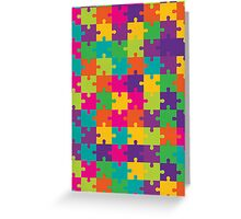 Colorful Jigsaw Puzzle Pattern Greeting Card