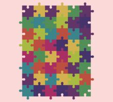 Colorful Jigsaw Puzzle Pattern One Piece - Long Sleeve