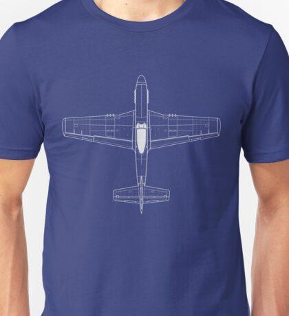 North American P-51D Mustang Blueprint Unisex T-Shirt