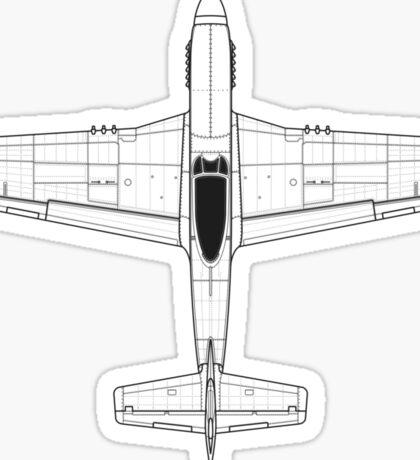 North American P-51D Mustang Blueprint Sticker