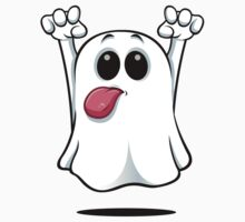 Cartoon Ghost - Sticking His Tongue Out. One Piece - Short Sleeve