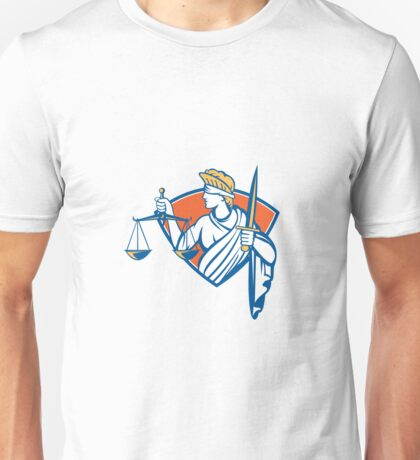 Lady Blindfolded Holding Scales Justice Sword Unisex T-Shirt