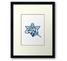American Soldier Assault Rifle Retro Framed Print