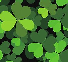 Saint Patrick Day Black Green Three Leaf Clovers by sitnica