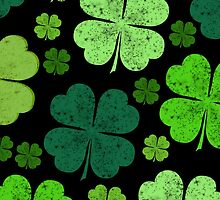 Green Black Saint Patrick Day Four Leaf Clovers by sitnica