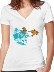 Goldfish Illustration Print Women's Fitted V-Neck T-Shirt