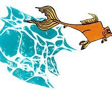 Goldfish Illustration Print by OvergrownAsylum