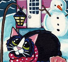 Snow at Beach Hut 8 by Lisa Marie Robinson