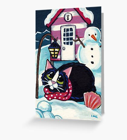 Snow at Beach Hut 8 Greeting Card