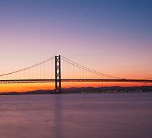 The Forth Road Bridge at dusk in Edinburgh Scotland by -Silus-