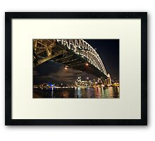 harbour bridge in sydney at night Framed Print