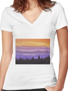 Canadian Mountains Women's Fitted V-Neck T-Shirt