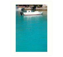 Lone caribbean fishing boat Art Print
