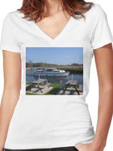 Norfolk Broads Cruiser Women's Fitted V-Neck T-Shirt