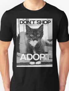DONT SHOP. ADOPT. - BLACK & WHITE Unisex T-Shirt