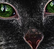 Black Green Eyed Cat Sticker