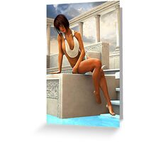 Sunbathing Gia at a Greek Pool Greeting Card