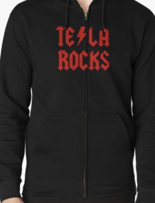 Tesla Rocks Zipped Hoodie