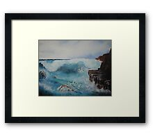 Study of waves on rocks Framed Print