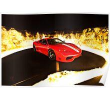 Fiery Ferrari Poster