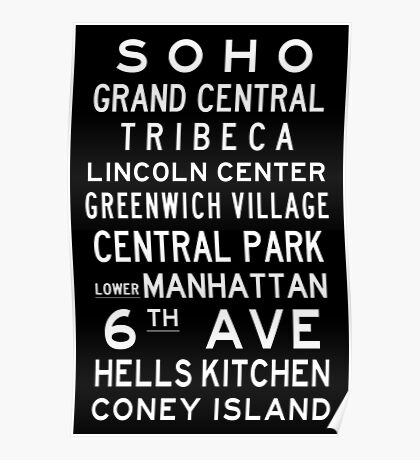 "New York ""SOHO"" Classic Black & White subway sign art Poster"