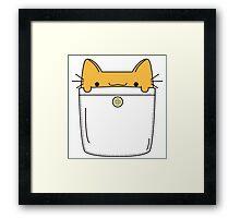 Pocket Cat - Orange Framed Print