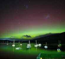 Aurora Australis at Port Huon, Tasmania #5 by Chris Cobern