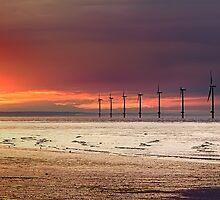 Sunset & Wind Turbines by Darren Allen