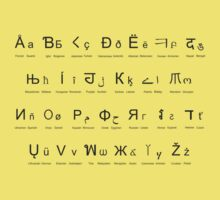 Lingua Francas T-Shirt (Black letters) by hellomrdave