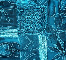 Patchwork, Flowers, Petals, Swirls - Blue  by sitnica
