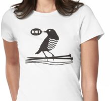 Talking bird knitting needles yarn Womens Fitted T-Shirt