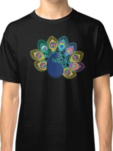 colorful modern peacock big feathers Classic T-Shirt