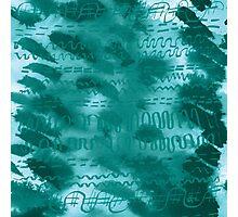 Teal hieroglyphics Photographic Print