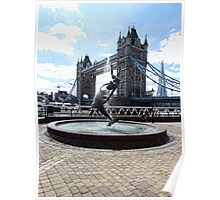 Tower Bridge with Fountain - London Poster