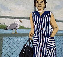 The Cruise - vintage woman with seagull print from my original oil painting by LindaAppleArt