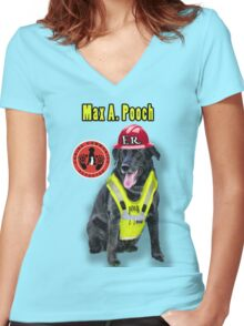 Max A. Pooch-Canine Community Reporter-Environmental Women's Fitted V-Neck T-Shirt