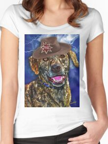 A Canine Community Reporter Fine Art Creation Women's Fitted Scoop T-Shirt