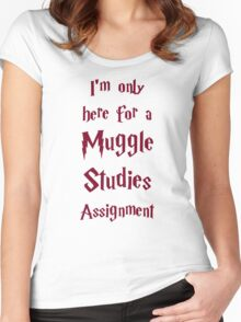 I'm only here for a Muggle Studies Assignment Women's Fitted Scoop T-Shirt