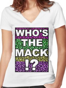 Who's The Mack !? (white) Women's Fitted V-Neck T-Shirt