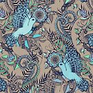 Flight of Fancy – aqua, mint, taupe by micklyn