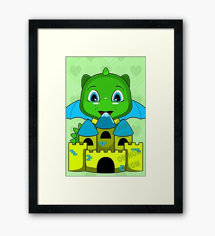 Chibi Dragon With A Blue And Yellow Castle Framed Print