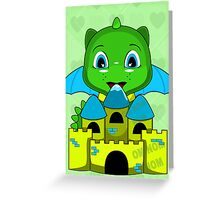Chibi Dragon With A Blue And Yellow Castle Greeting Card