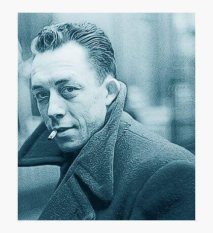 Albert Camus Blue Photographic Print