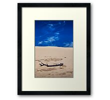 Silver Lake Dune with Dead Tree branch and Cirrus Clouds Framed Print