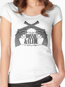 Bonnie & Clyde Crossed Guns Women's Fitted Scoop T-Shirt