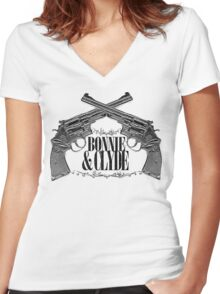 Bonnie & Clyde Crossed Guns Women's Fitted V-Neck T-Shirt