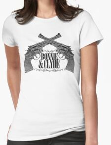 Bonnie & Clyde Crossed Guns Womens Fitted T-Shirt