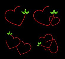 red hearts and green leaves by Shawlin Mohd