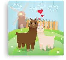 Alpaca's couple Canvas Print