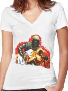 Creature on the Make  Women's Fitted V-Neck T-Shirt